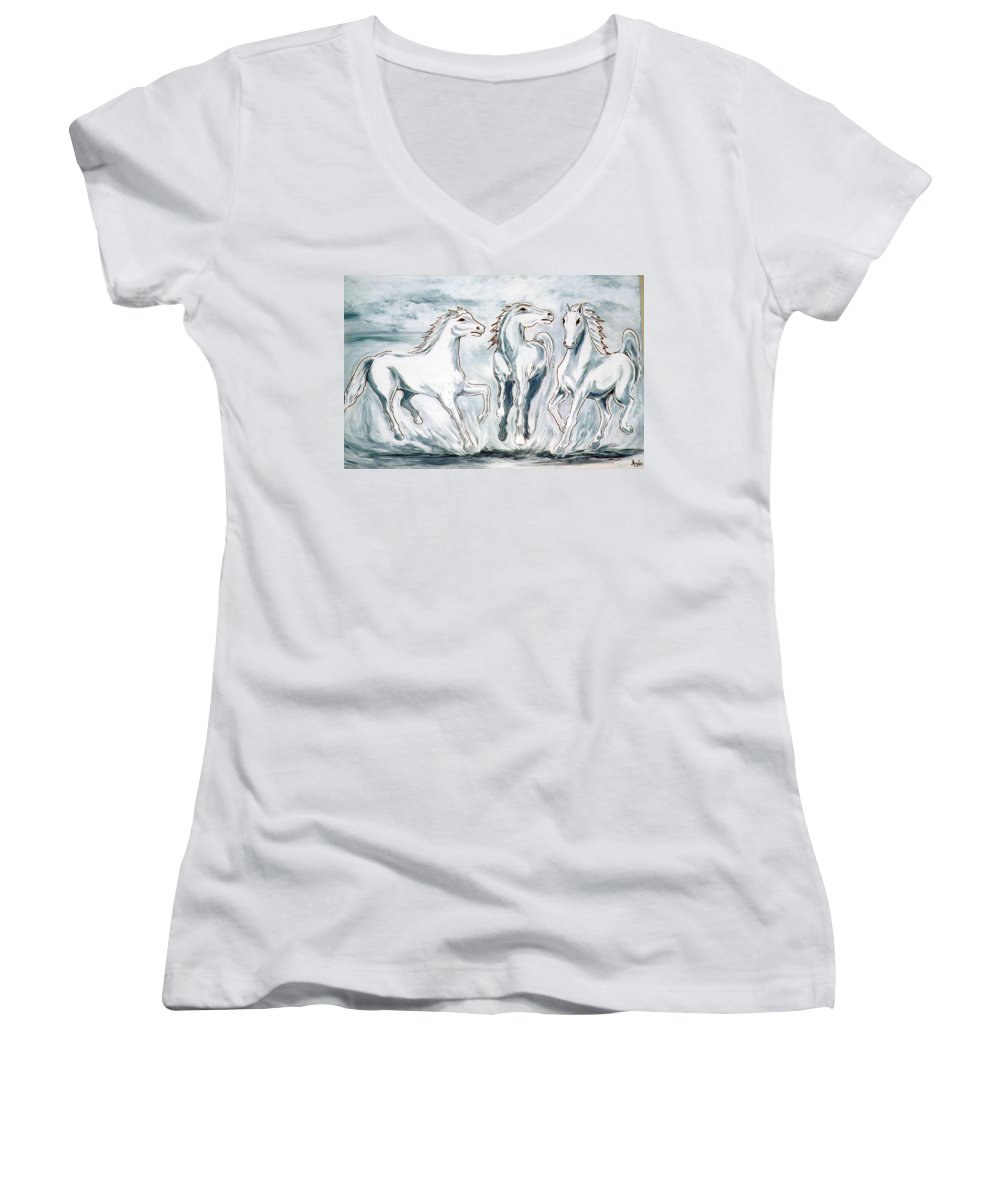 Horses Women's V-Neck (Athletic Fit) featuring the painting Arabian Roots by Marco Morales