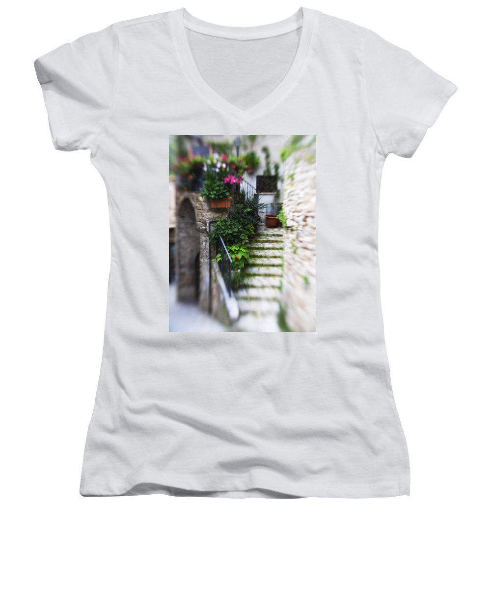 Italy Women's V-Neck T-Shirt featuring the photograph Archway And Stairs by Marilyn Hunt