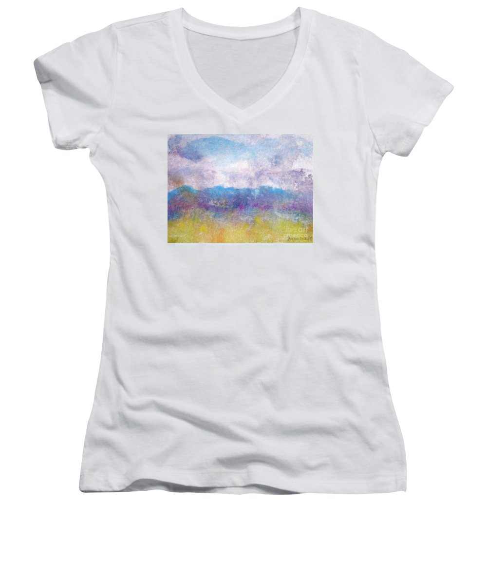 Abstract Women's V-Neck T-Shirt featuring the painting Arizona Impressions by Jan Bennicoff