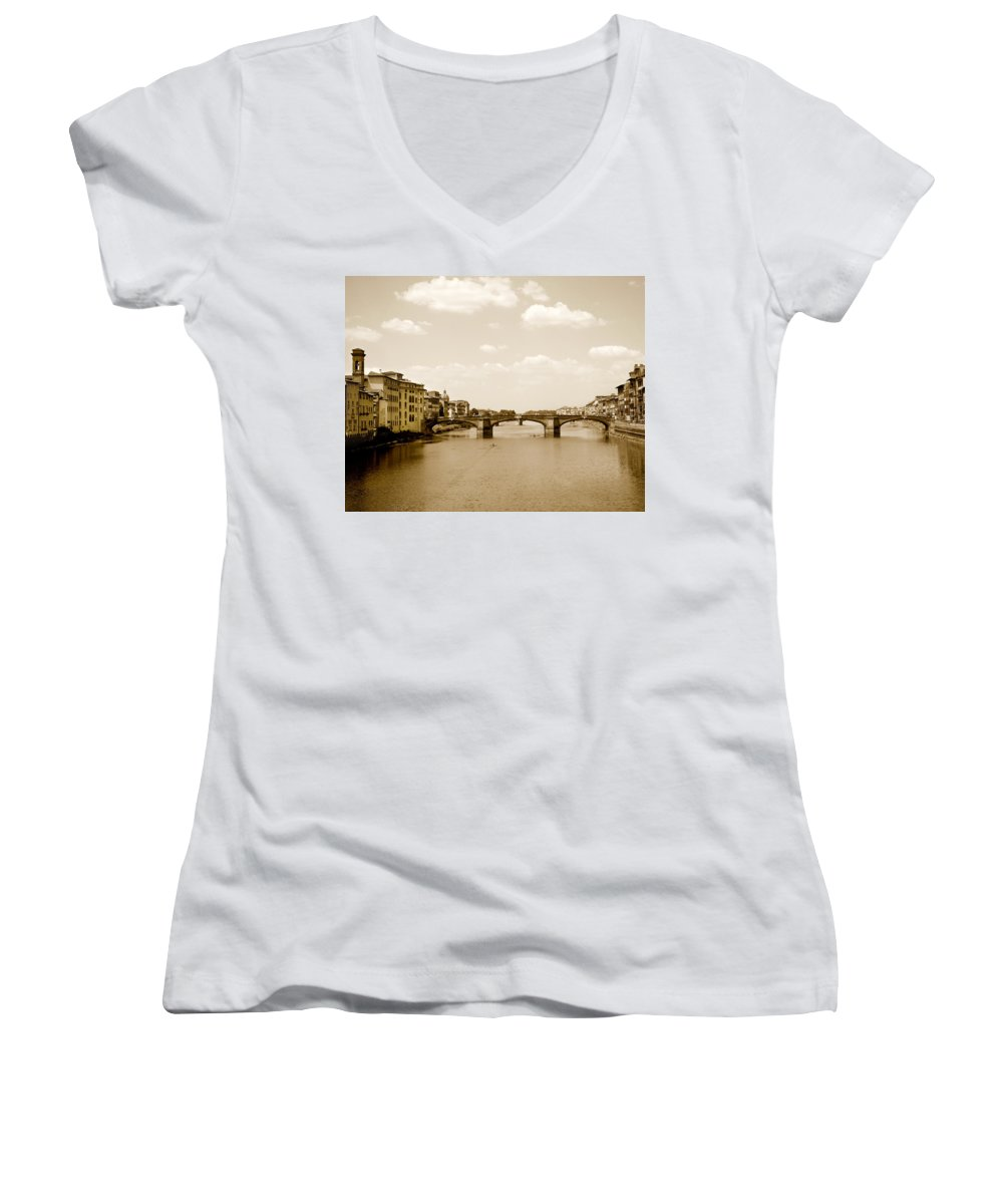 Italy Women's V-Neck T-Shirt featuring the photograph Arno River Florence by Marilyn Hunt