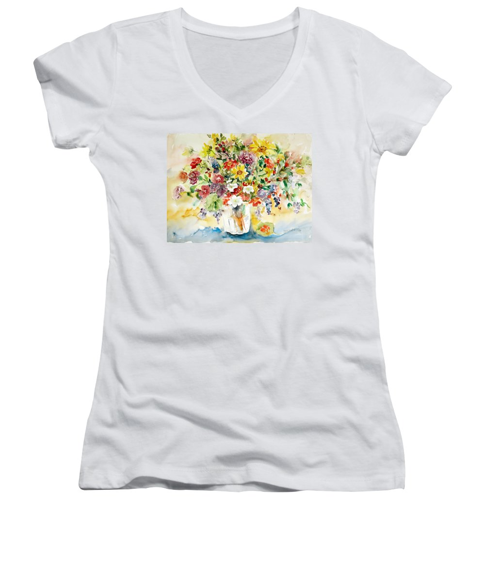Watercolor Women's V-Neck (Athletic Fit) featuring the painting Arrangement IIi by Alexandra Maria Ethlyn Cheshire