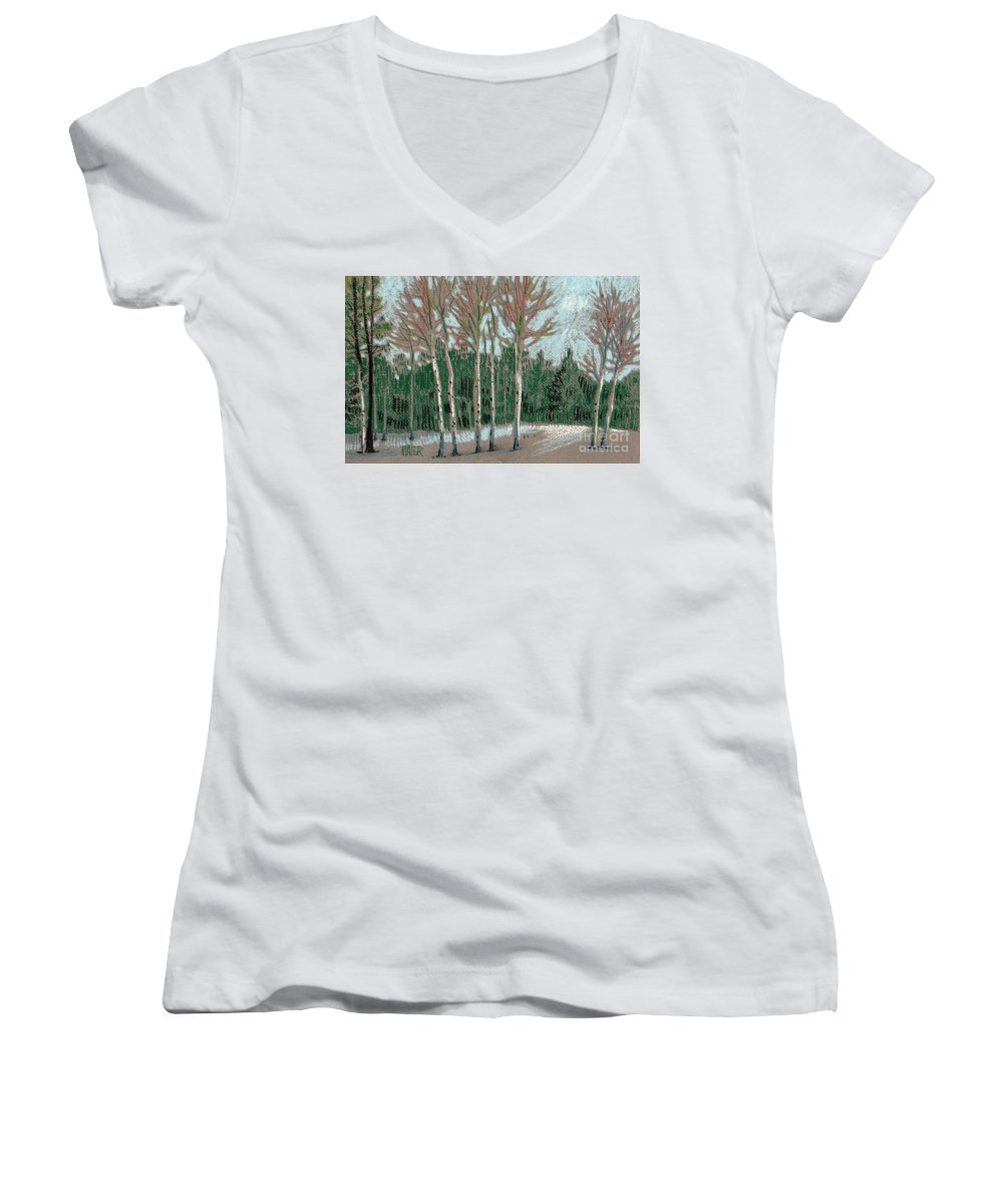 Aspens Women's V-Neck (Athletic Fit) featuring the drawing Aspen In The Snow by Donald Maier