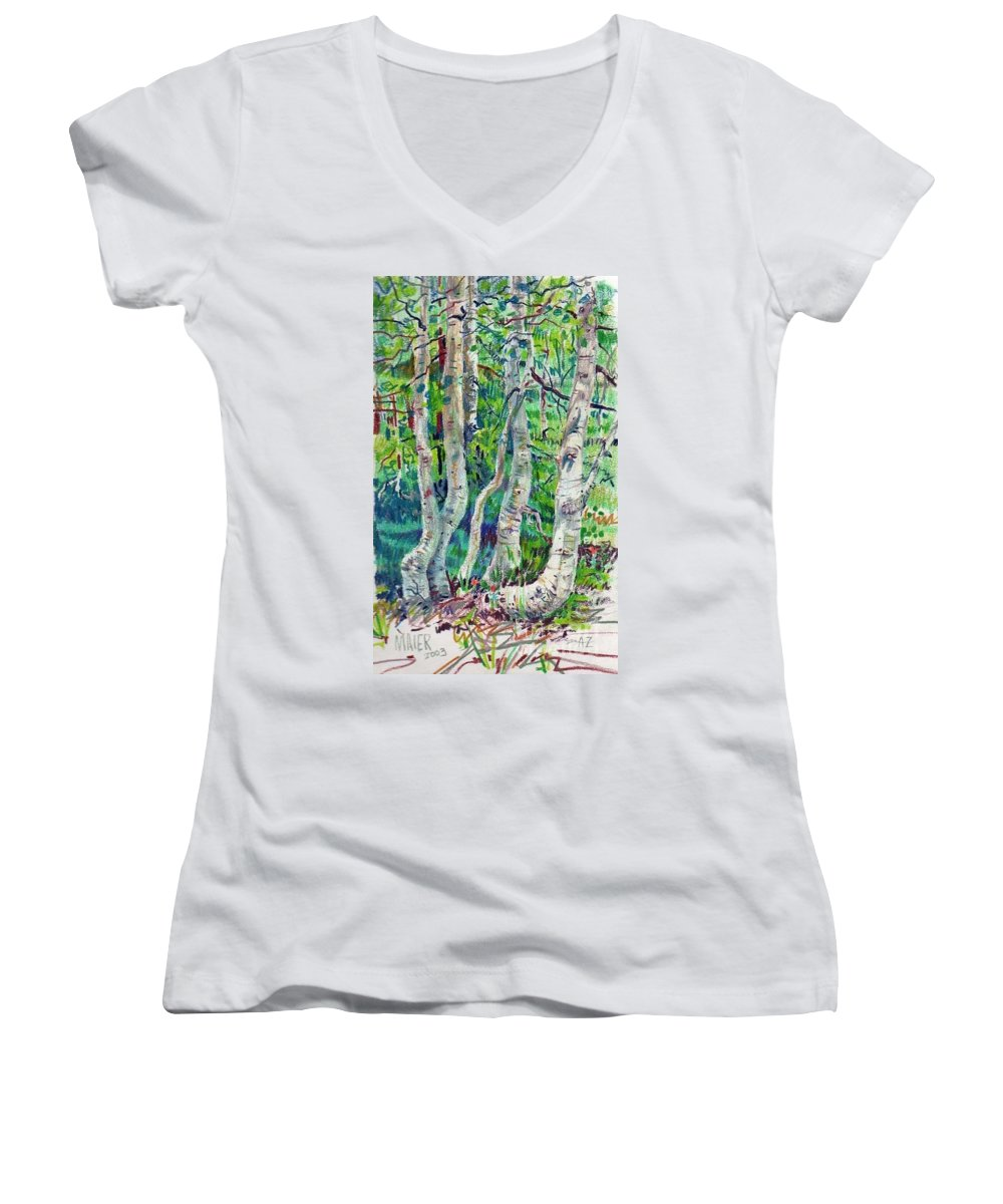 Aspens Women's V-Neck T-Shirt featuring the drawing Aspens by Donald Maier