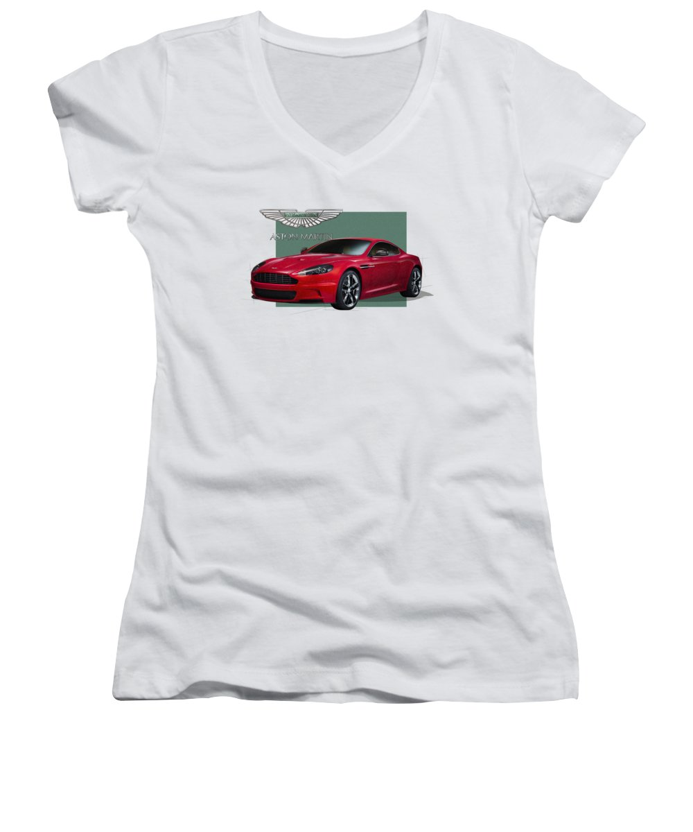 �aston Martin� By Serge Averbukh Women's V-Neck T-Shirt featuring the photograph Aston Martin D B S V 12 With 3 D Badge by Serge Averbukh