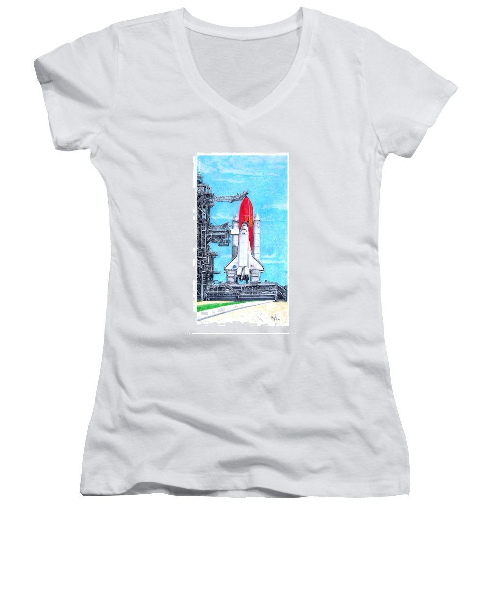 Drawing Women's V-Neck (Athletic Fit) featuring the drawing Atlantis by Murphy Elliott