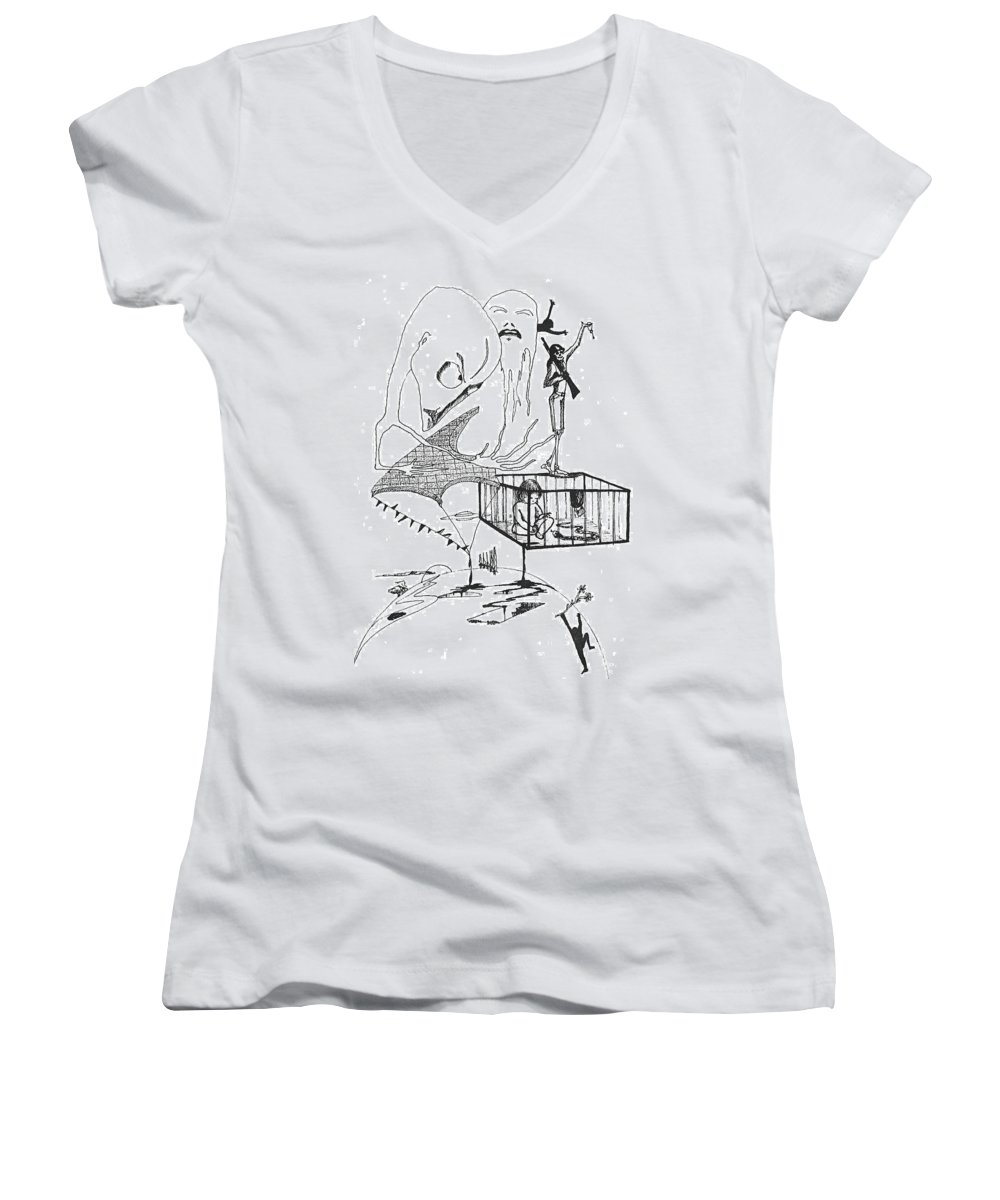 Drawing Pen Automatism Women's V-Neck (Athletic Fit) featuring the drawing Automatism by Veronica Jackson