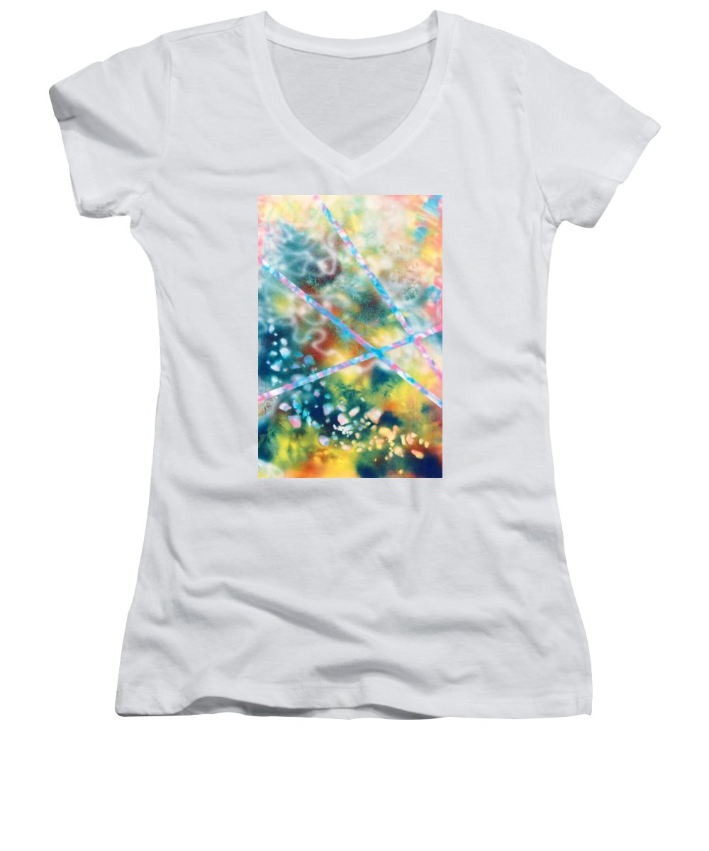 Abstract Women's V-Neck T-Shirt featuring the painting Autumn by Micah Guenther