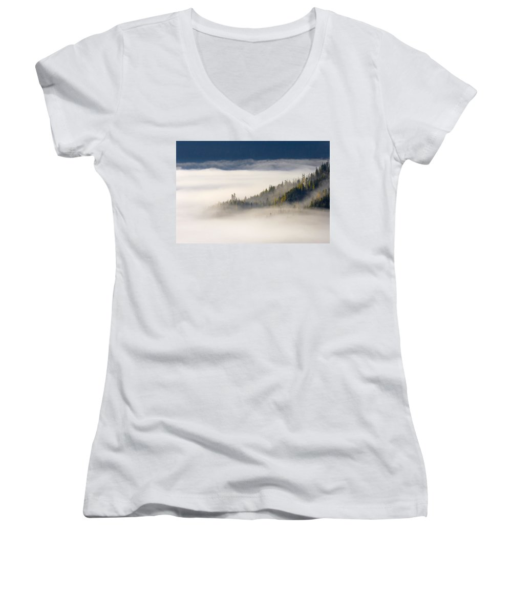 Fog Women's V-Neck T-Shirt featuring the photograph Autumn Morn by Mike Dawson