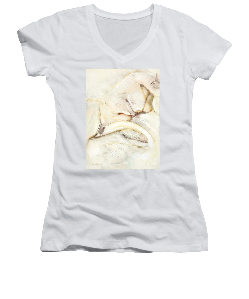 Female Women's V-Neck T-Shirt featuring the drawing Award Winning Abstract Nude by Kerryn Madsen-Pietsch