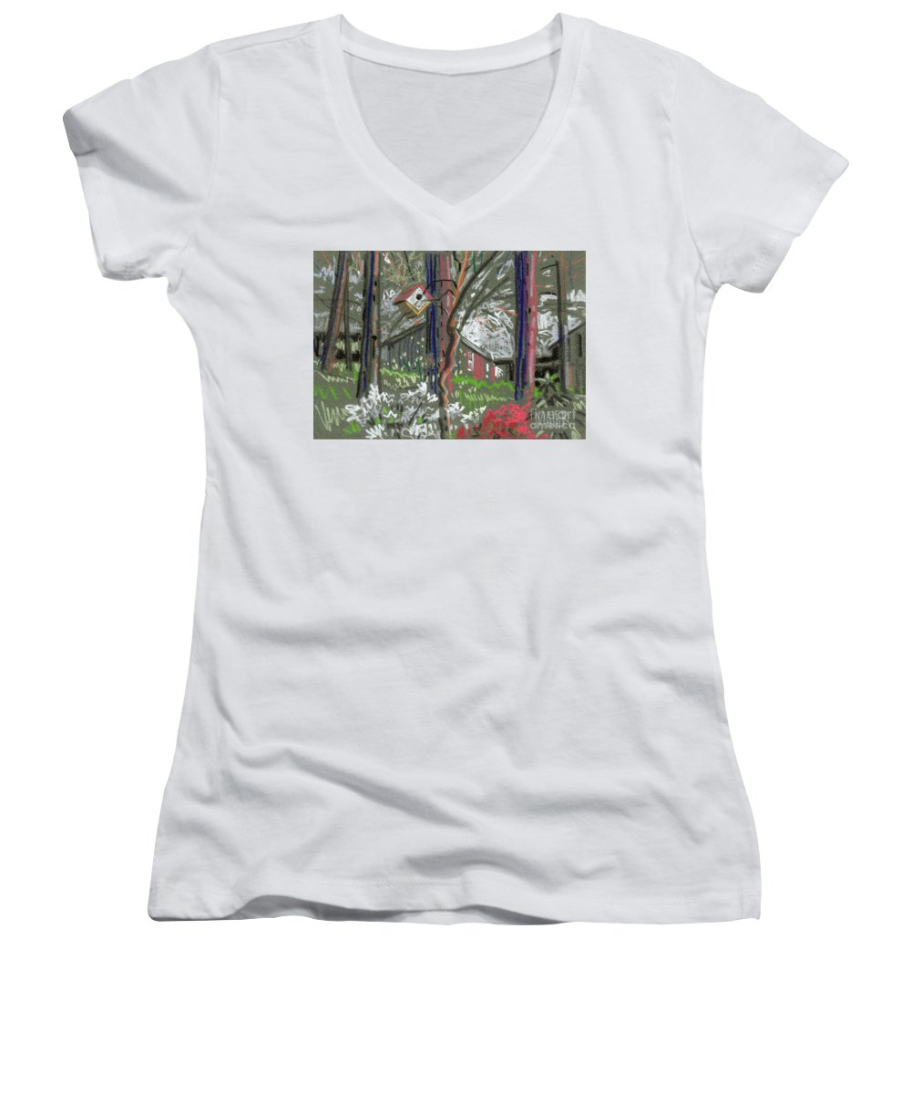 Azalea Women's V-Neck T-Shirt featuring the drawing Azaleas In Spring by Donald Maier