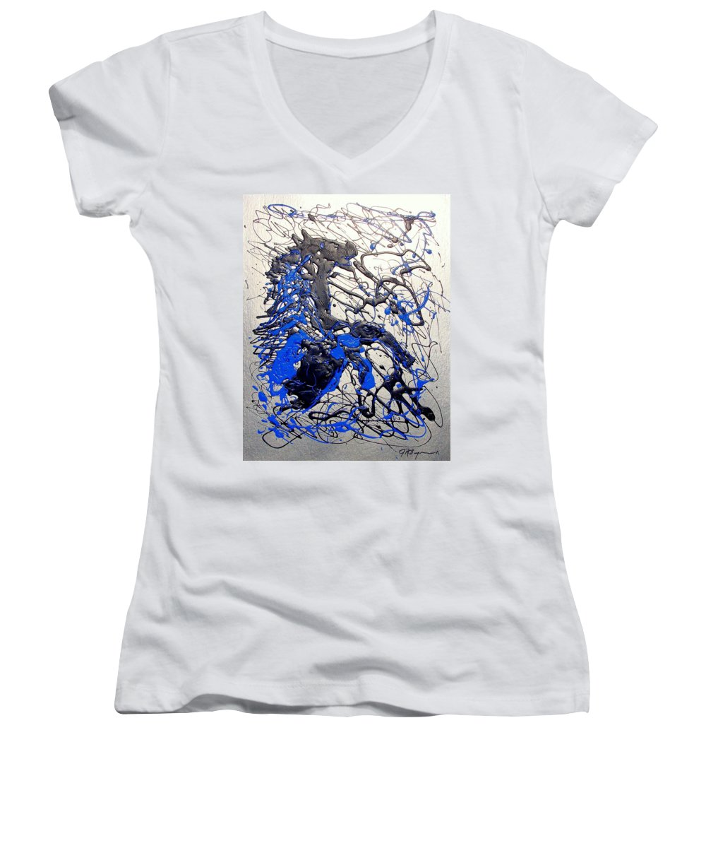 Stallion Horse Women's V-Neck T-Shirt (Junior Cut) featuring the painting Azul Diablo by J R Seymour