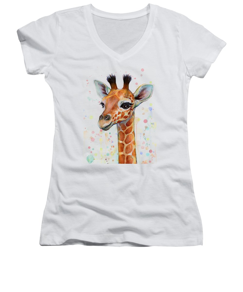 Watercolor Women's V-Neck featuring the painting Baby Giraffe Watercolor by Olga Shvartsur