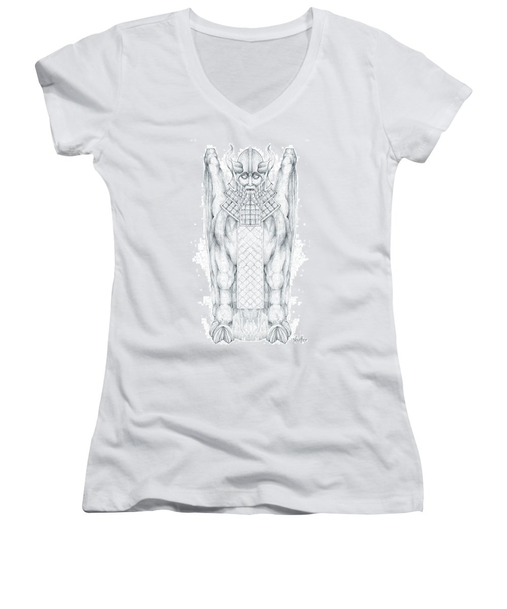 Babylonian Women's V-Neck (Athletic Fit) featuring the drawing Babylonian Sphinx Lamassu by Curtiss Shaffer