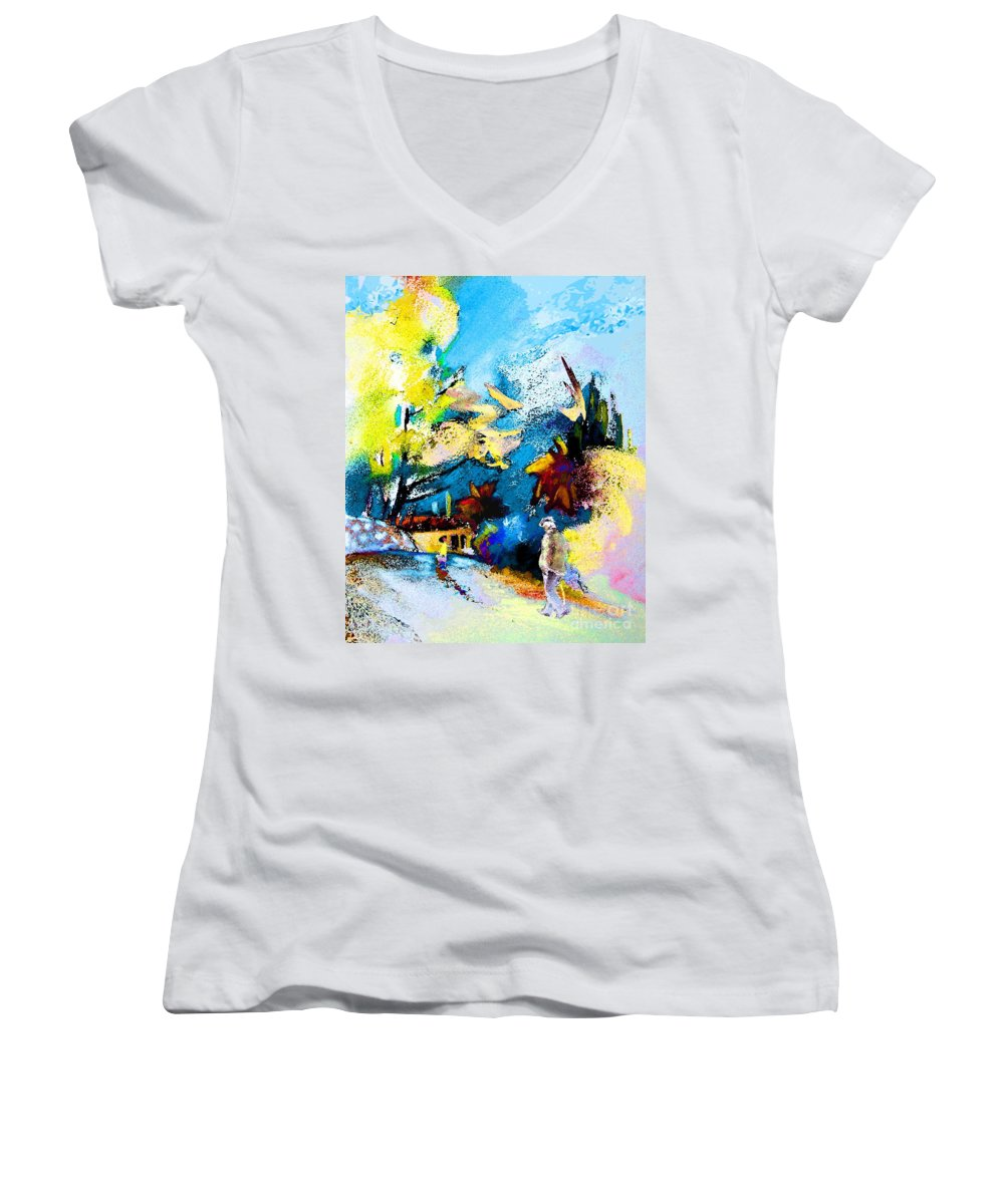 Pastel Painting Women's V-Neck (Athletic Fit) featuring the painting Back Home by Miki De Goodaboom