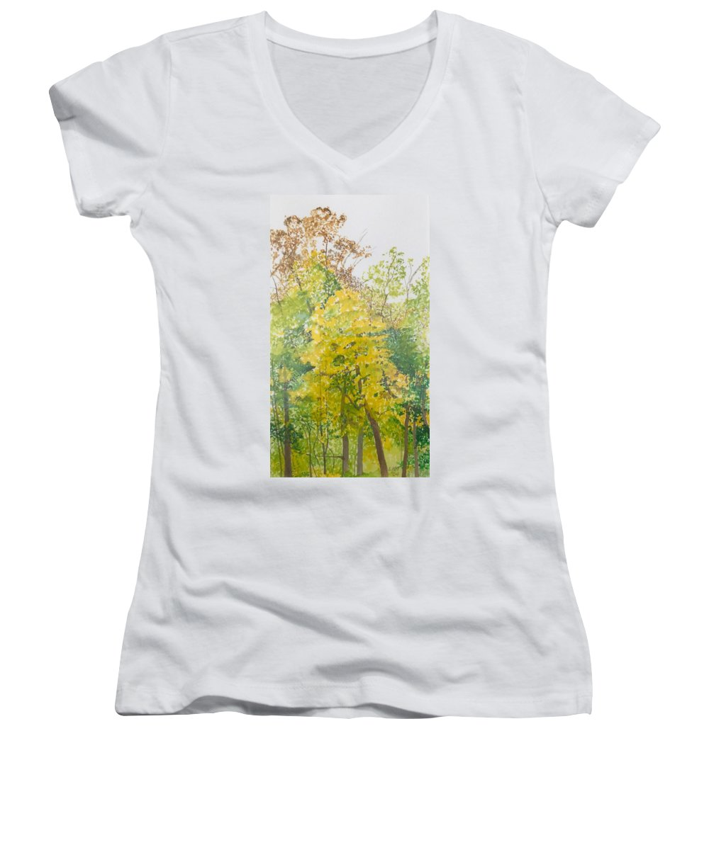 Autumn Women's V-Neck T-Shirt (Junior Cut) featuring the painting Backyard by Leah Tomaino