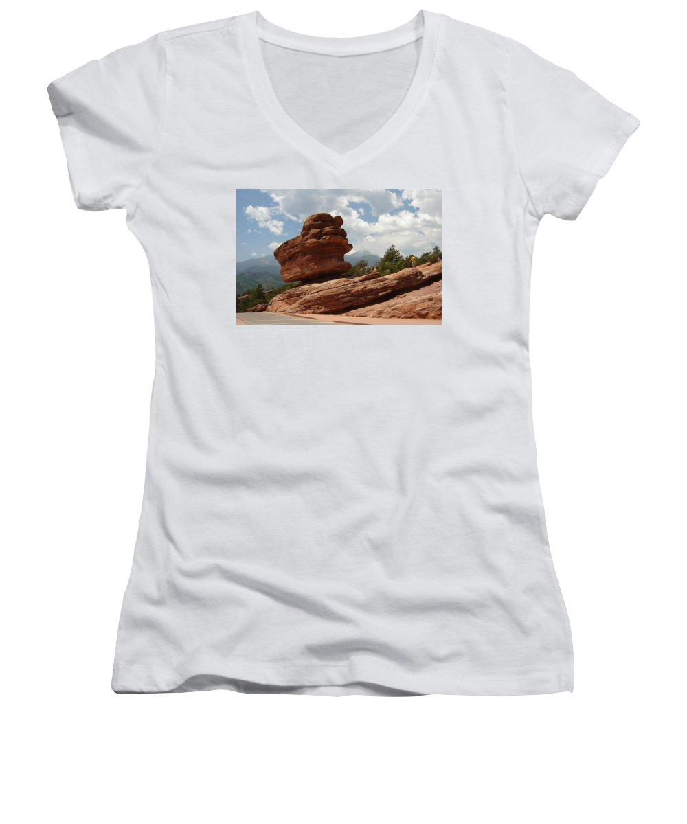Colorado Women's V-Neck T-Shirt featuring the photograph Balance Rock by Anita Burgermeister