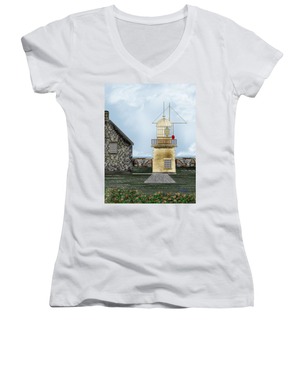Lighthouse Women's V-Neck T-Shirt featuring the painting Ballinacourty Lighthouse At Waterford Ireland by Anne Norskog