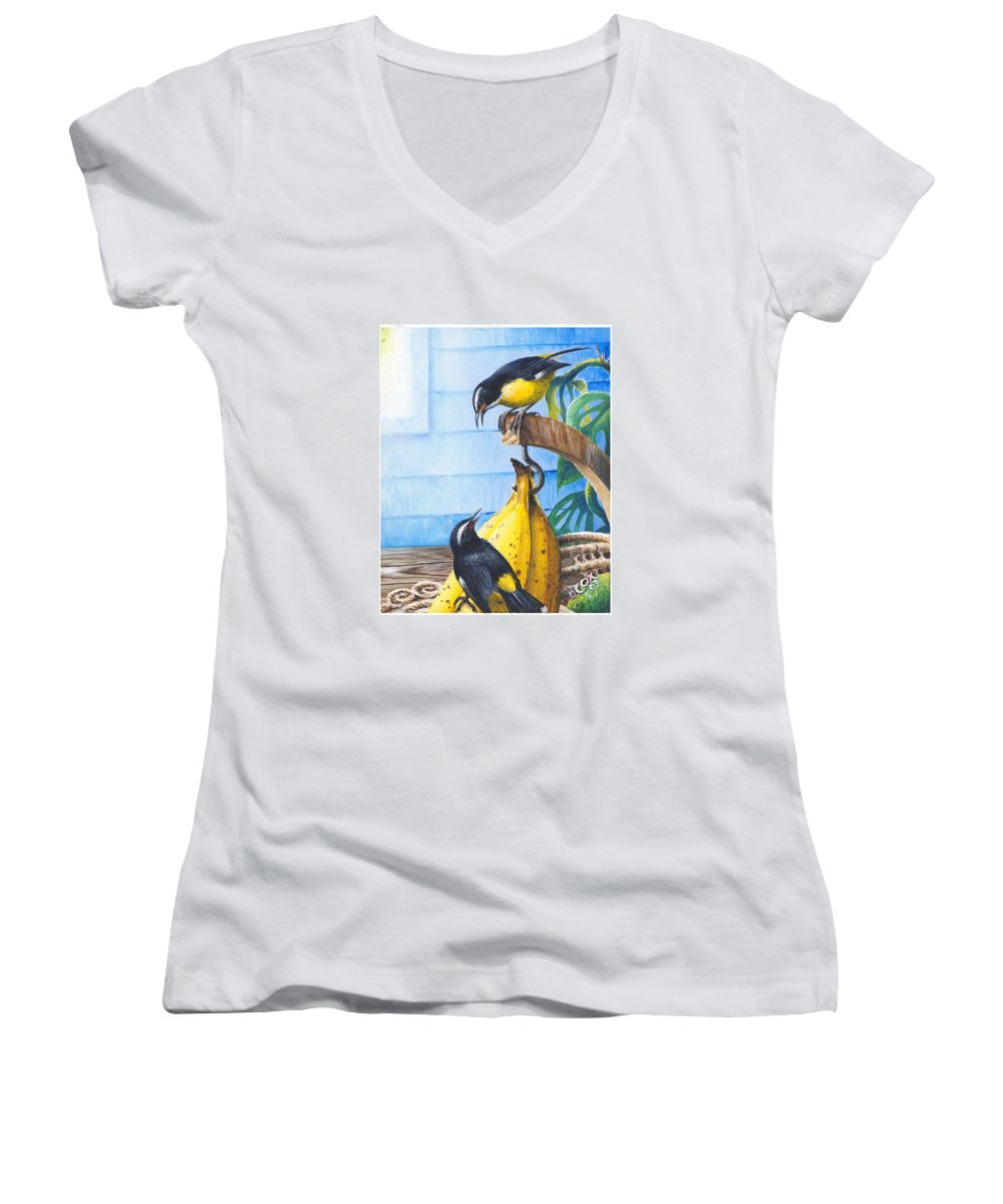 Chris Cox Women's V-Neck (Athletic Fit) featuring the painting Bananaquits And Bananas by Christopher Cox