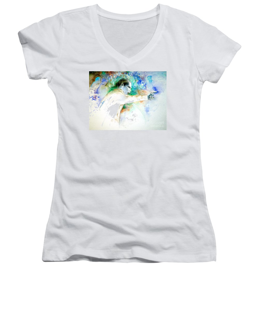 Portrait Barack Obama Women's V-Neck T-Shirt featuring the painting Barack Obama Pointing At You by Miki De Goodaboom