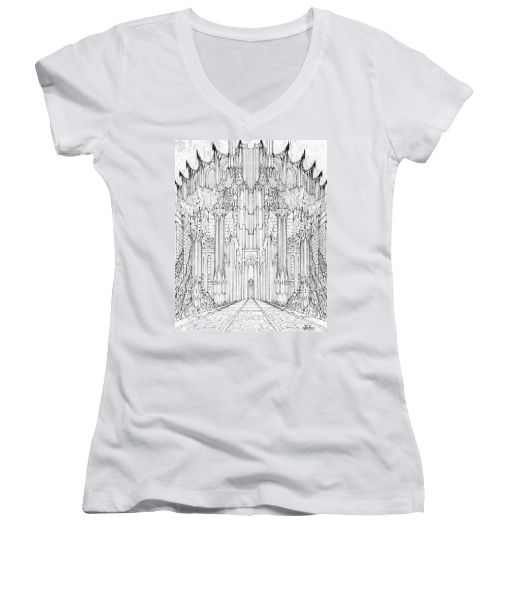 Barad-dur Women's V-Neck (Athletic Fit) featuring the drawing Barad-dur Gate Study by Curtiss Shaffer