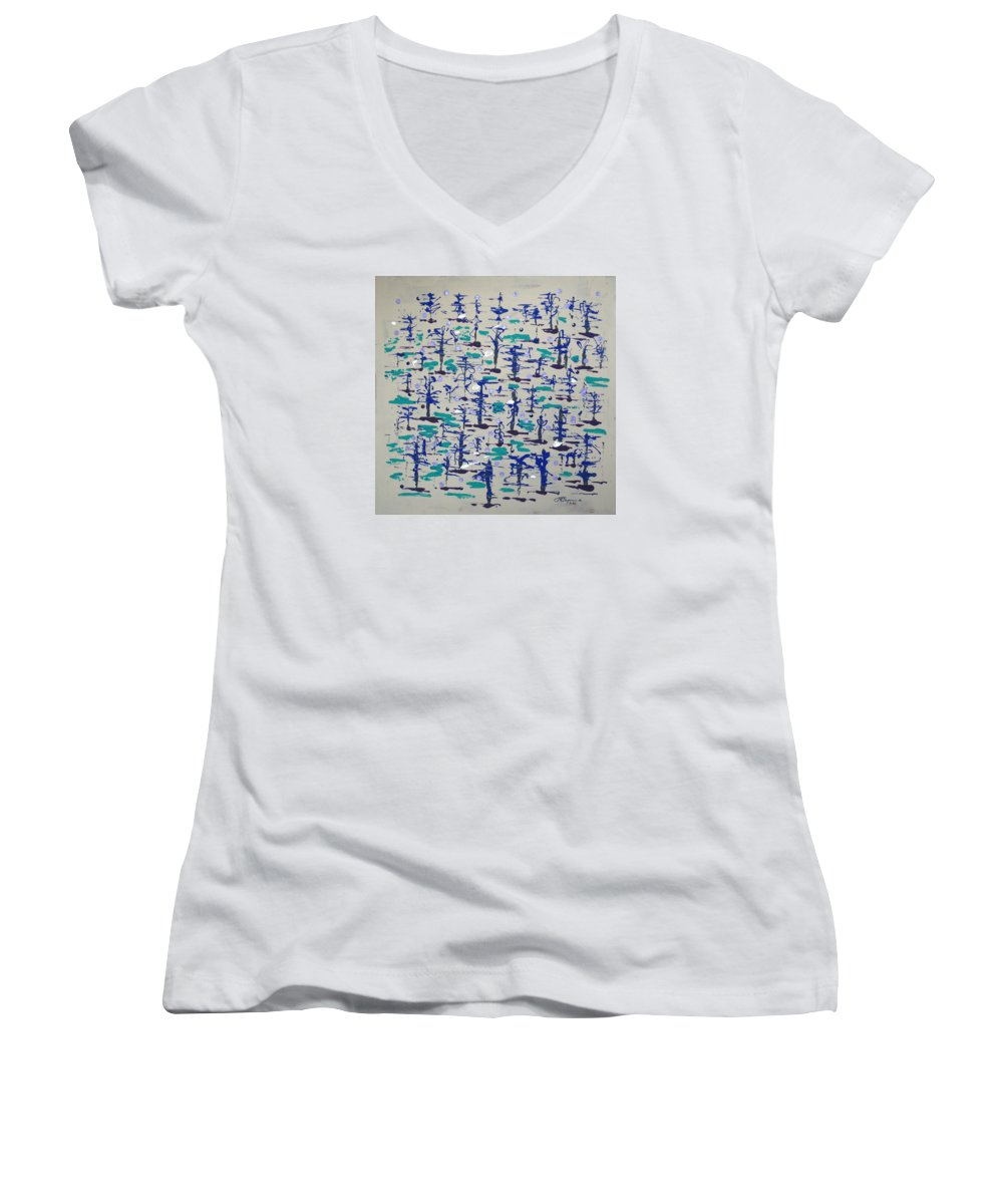 Abstract Women's V-Neck T-Shirt featuring the painting Bare Trees by J R Seymour