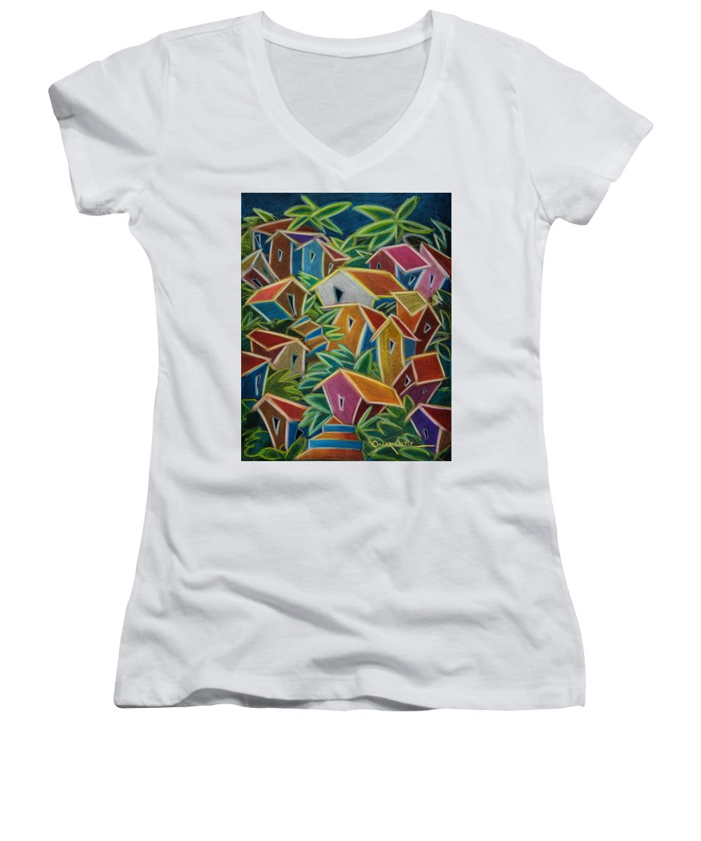 Landscape Women's V-Neck T-Shirt featuring the painting Barrio Lindo by Oscar Ortiz