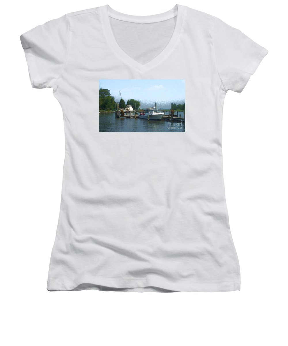 Boat Women's V-Neck T-Shirt featuring the photograph Beached Buoys by Debbi Granruth