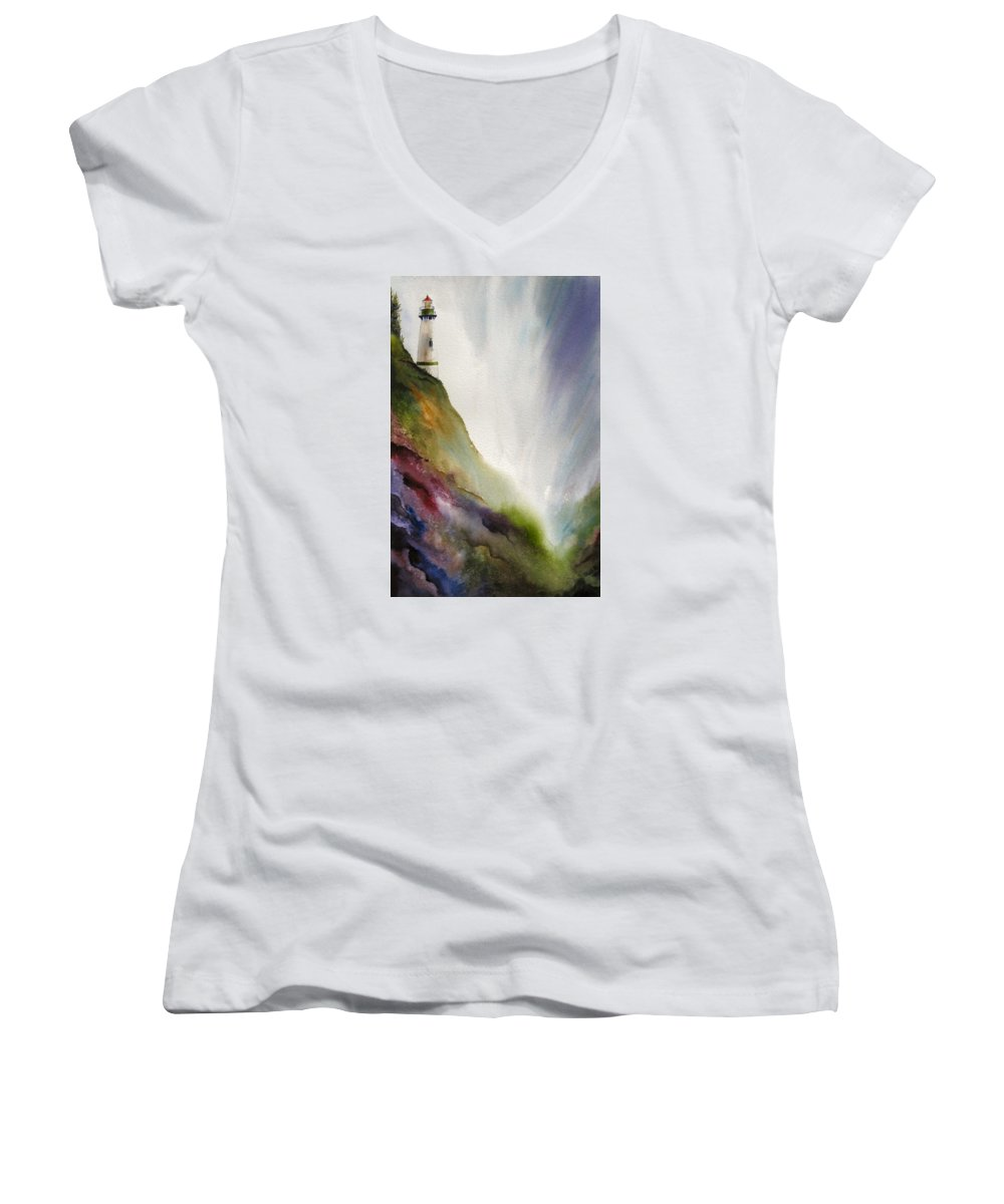 Lighthouse Women's V-Neck T-Shirt featuring the painting Beacon by Karen Stark