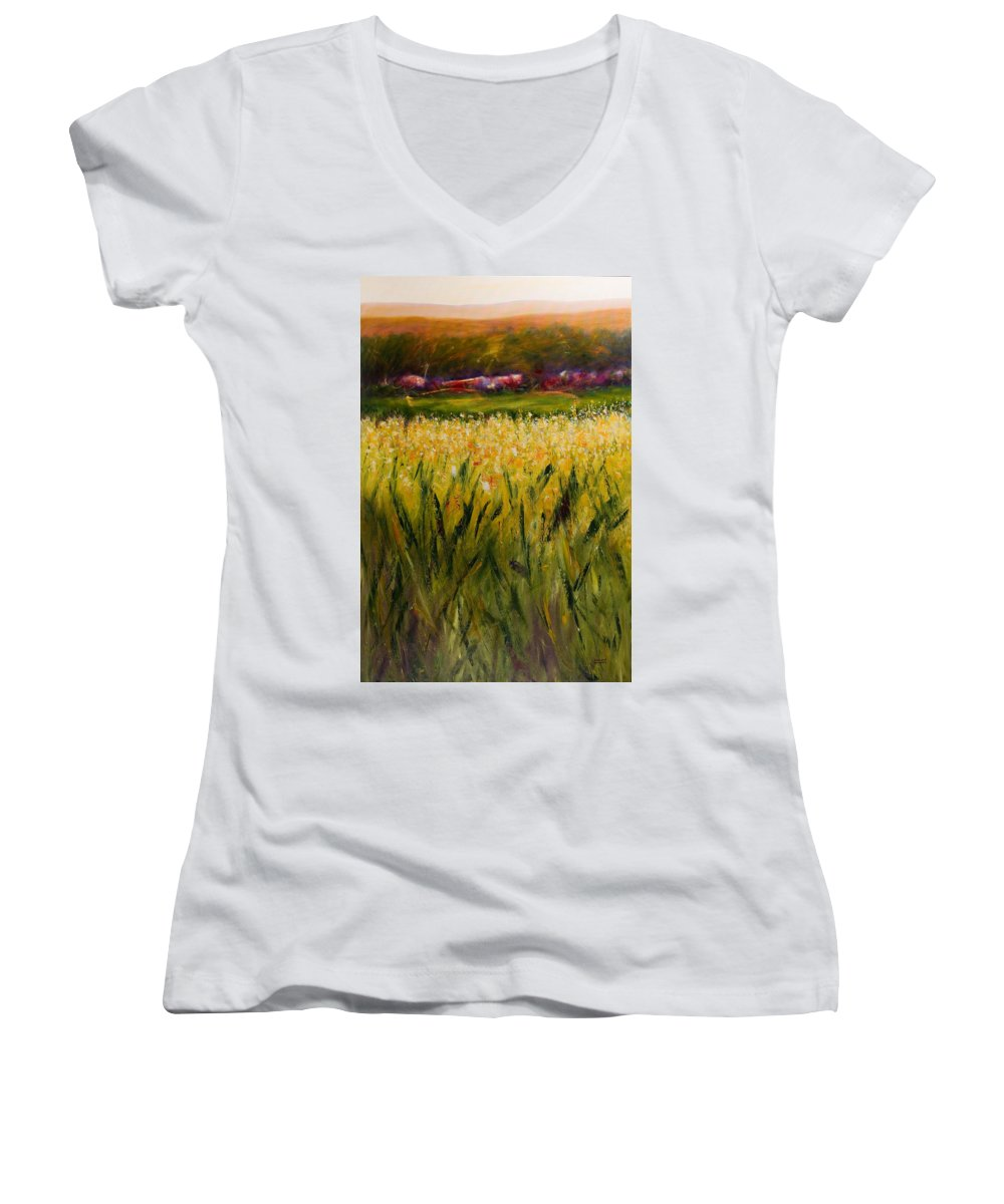 Landscape Women's V-Neck T-Shirt (Junior Cut) featuring the painting Beyond The Valley by Shannon Grissom