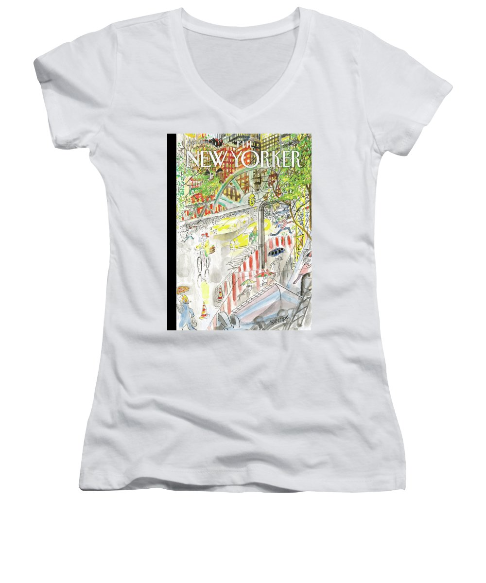 Biking In The Rain Women's V-Neck featuring the painting Biking in the Rain by Jean-Jacques Sempe
