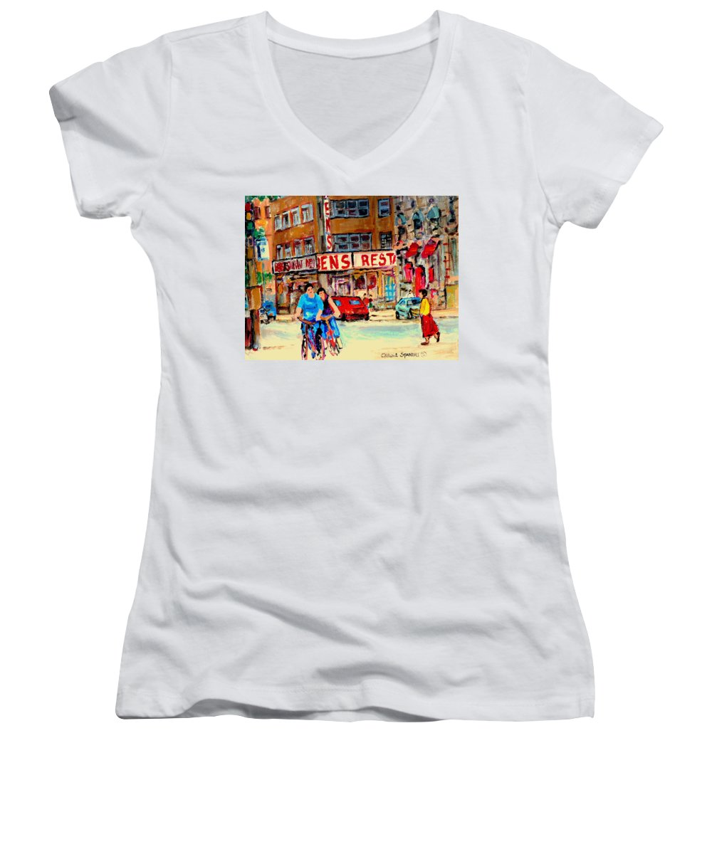 Montreal Women's V-Neck T-Shirt featuring the painting Biking Past Ben by Carole Spandau