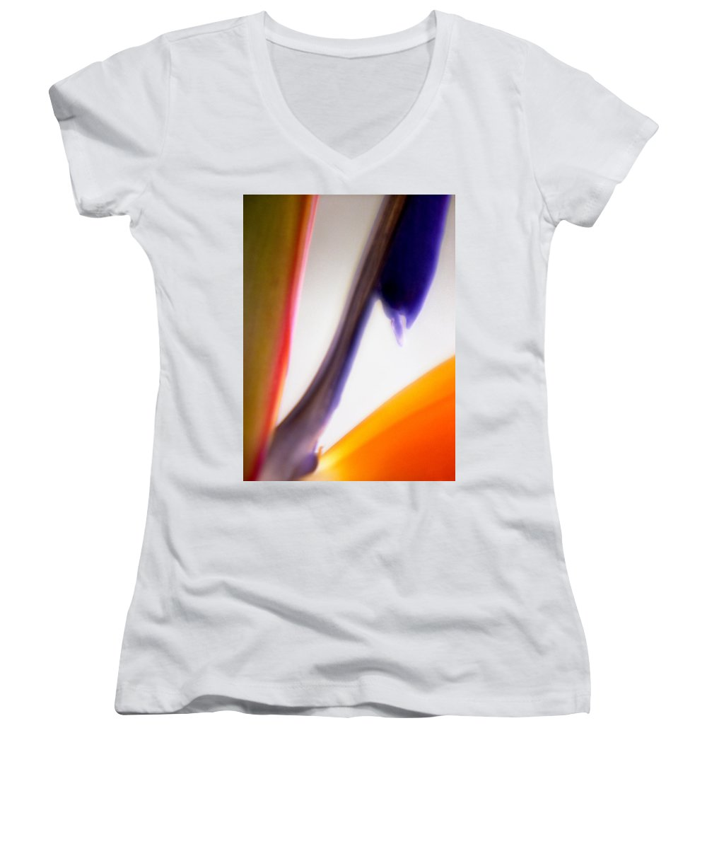 Macro Women's V-Neck T-Shirt featuring the photograph Bird Of Paradise by Lee Santa