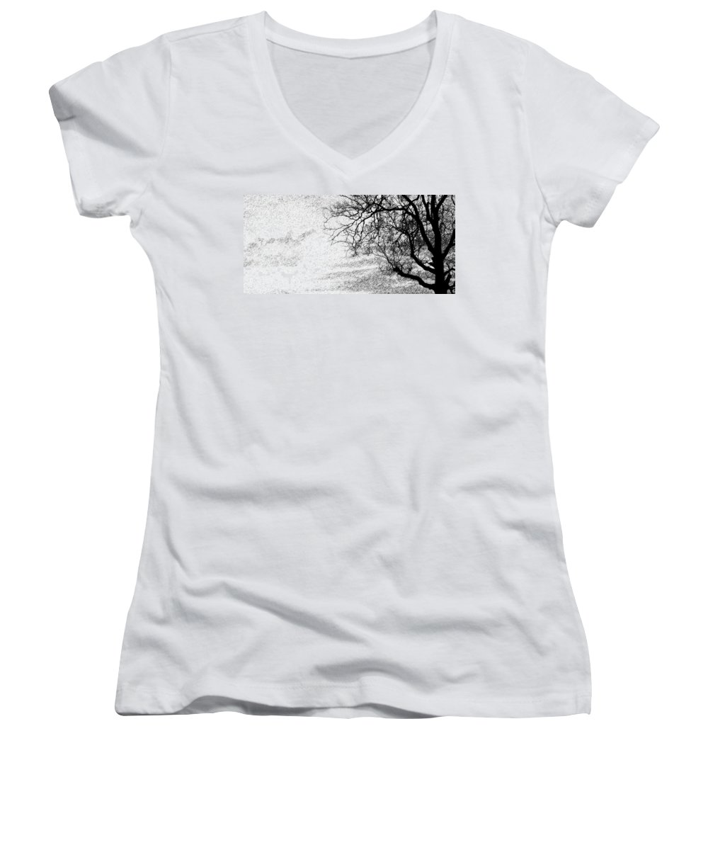 Sky Women's V-Neck T-Shirt featuring the photograph Black Rain by Ed Smith