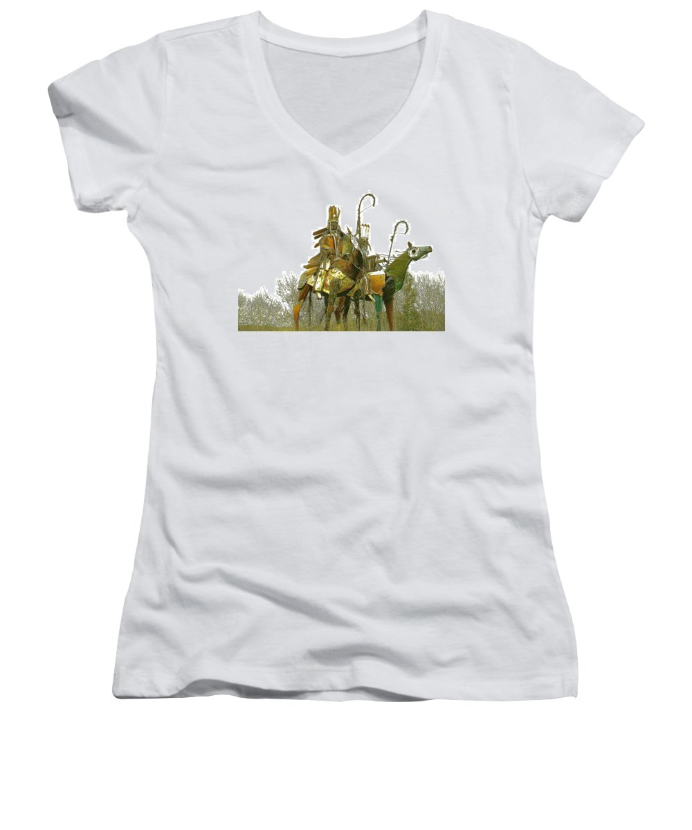 Native American Women's V-Neck T-Shirt featuring the photograph Blackfeet Wariors by Nelson Strong
