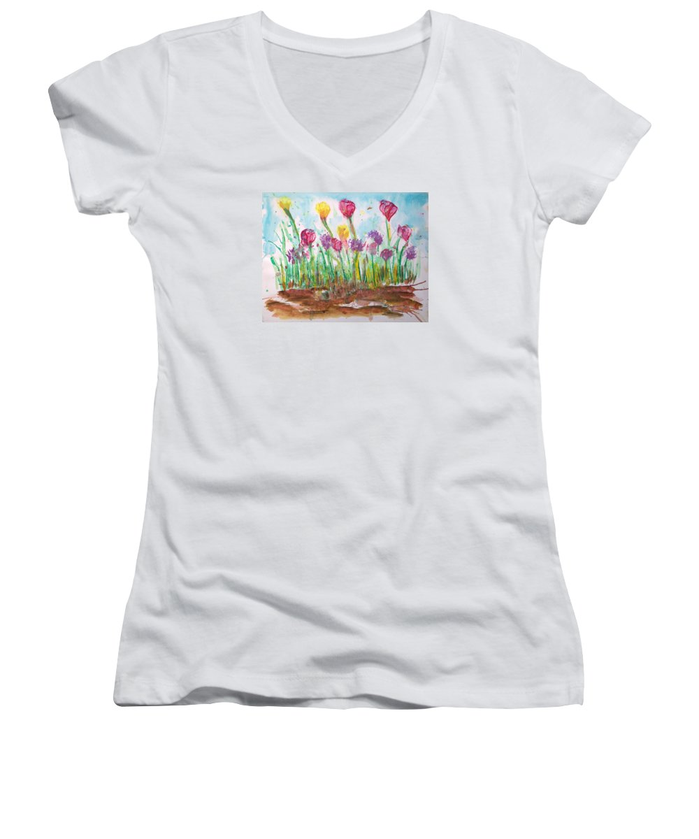 Flowers Women's V-Neck T-Shirt featuring the painting Blooming Colors by J R Seymour