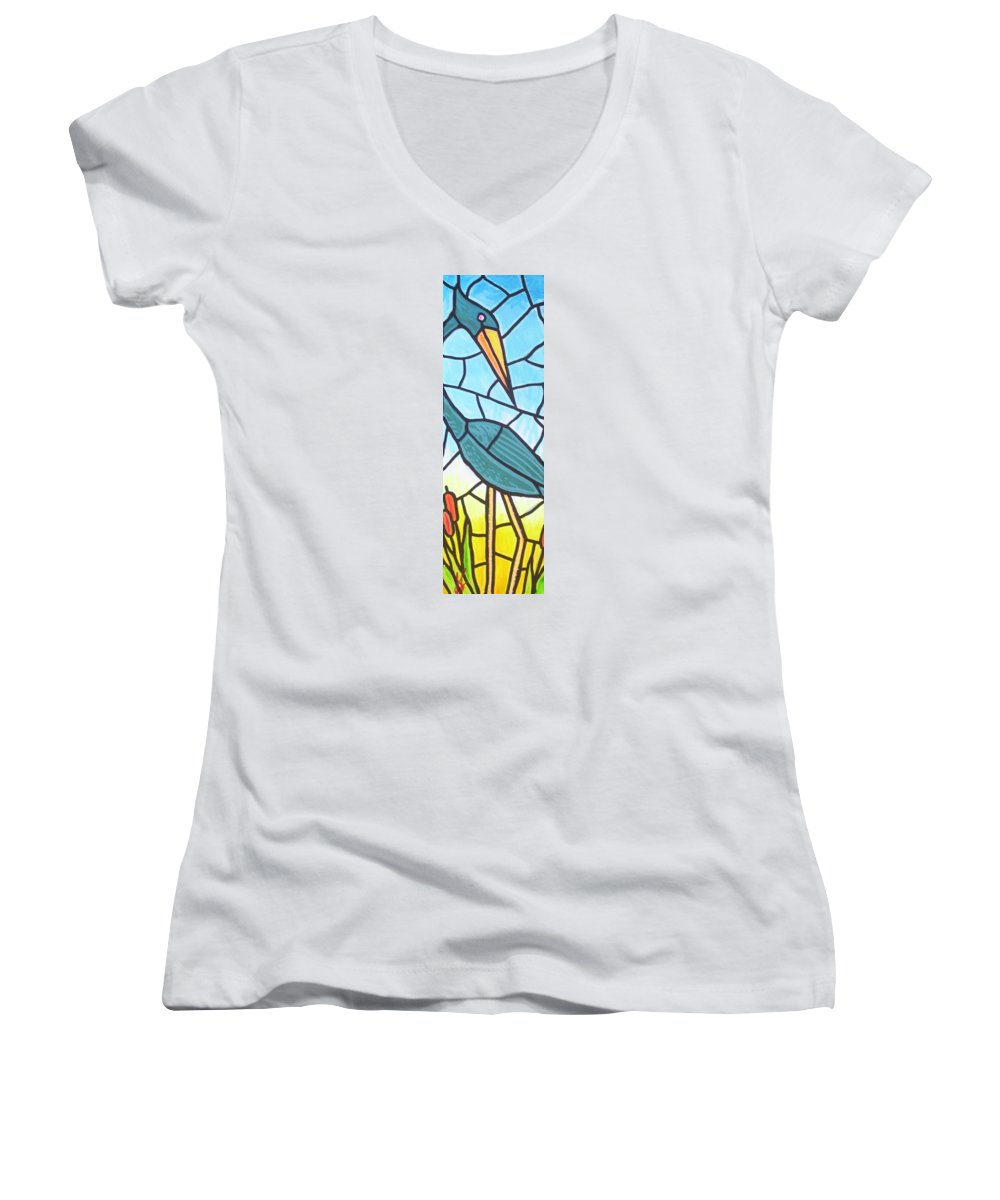Heron Women's V-Neck T-Shirt featuring the painting Blue Heron by Jim Harris