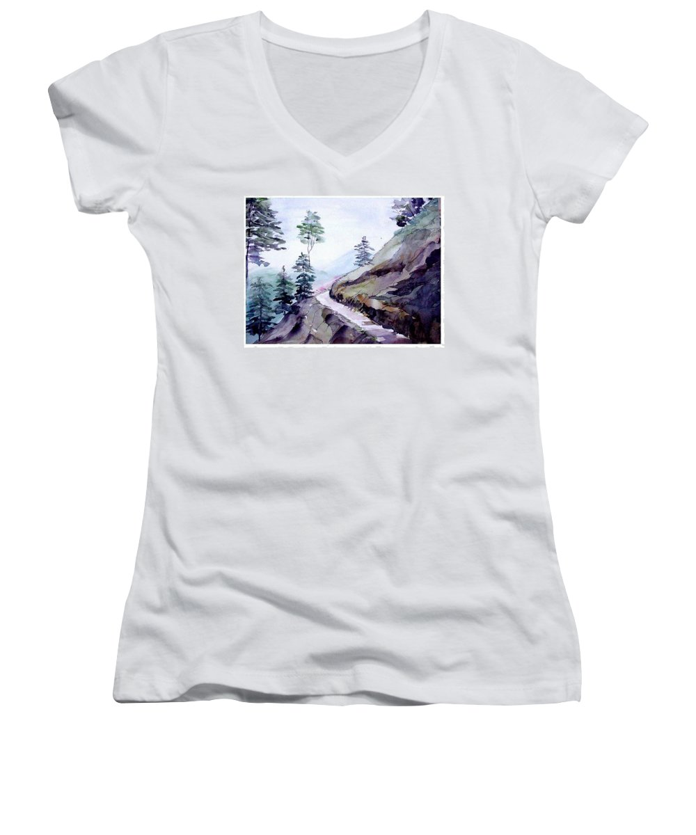 Landscape Women's V-Neck (Athletic Fit) featuring the painting Blue Hills by Anil Nene