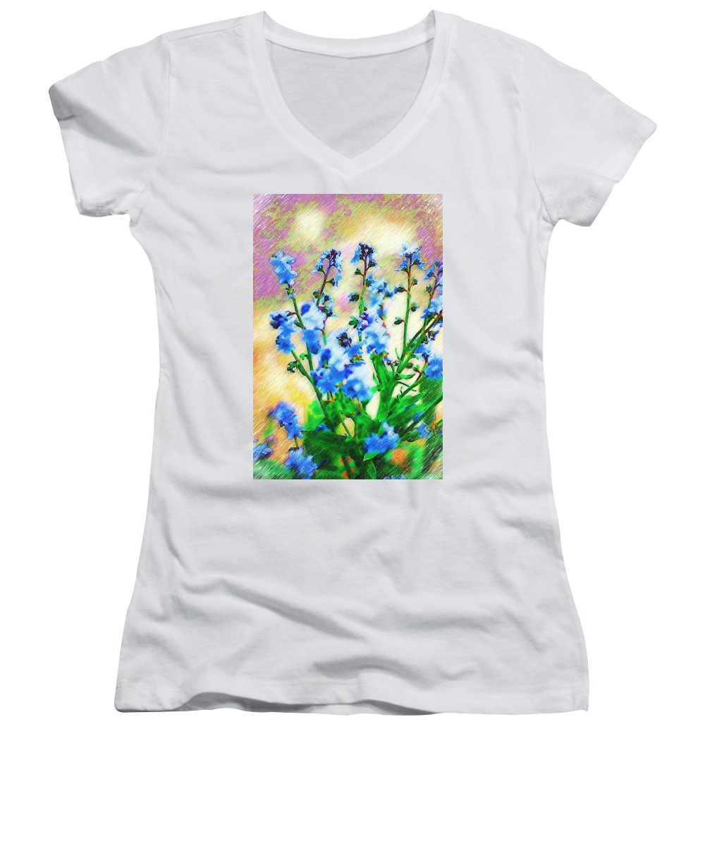 Blue Women's V-Neck T-Shirt featuring the photograph Blue Wildflowers by Donna Bentley