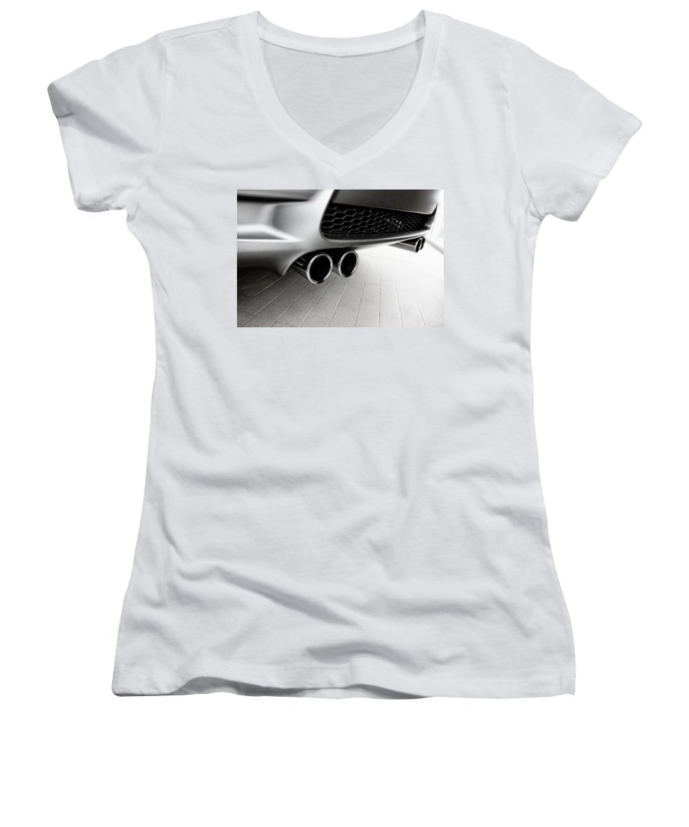 Bmw M3 Women's V-Neck T-Shirt (Junior Cut) featuring the photograph Bmw M3 Exhaust by Aaron Berg