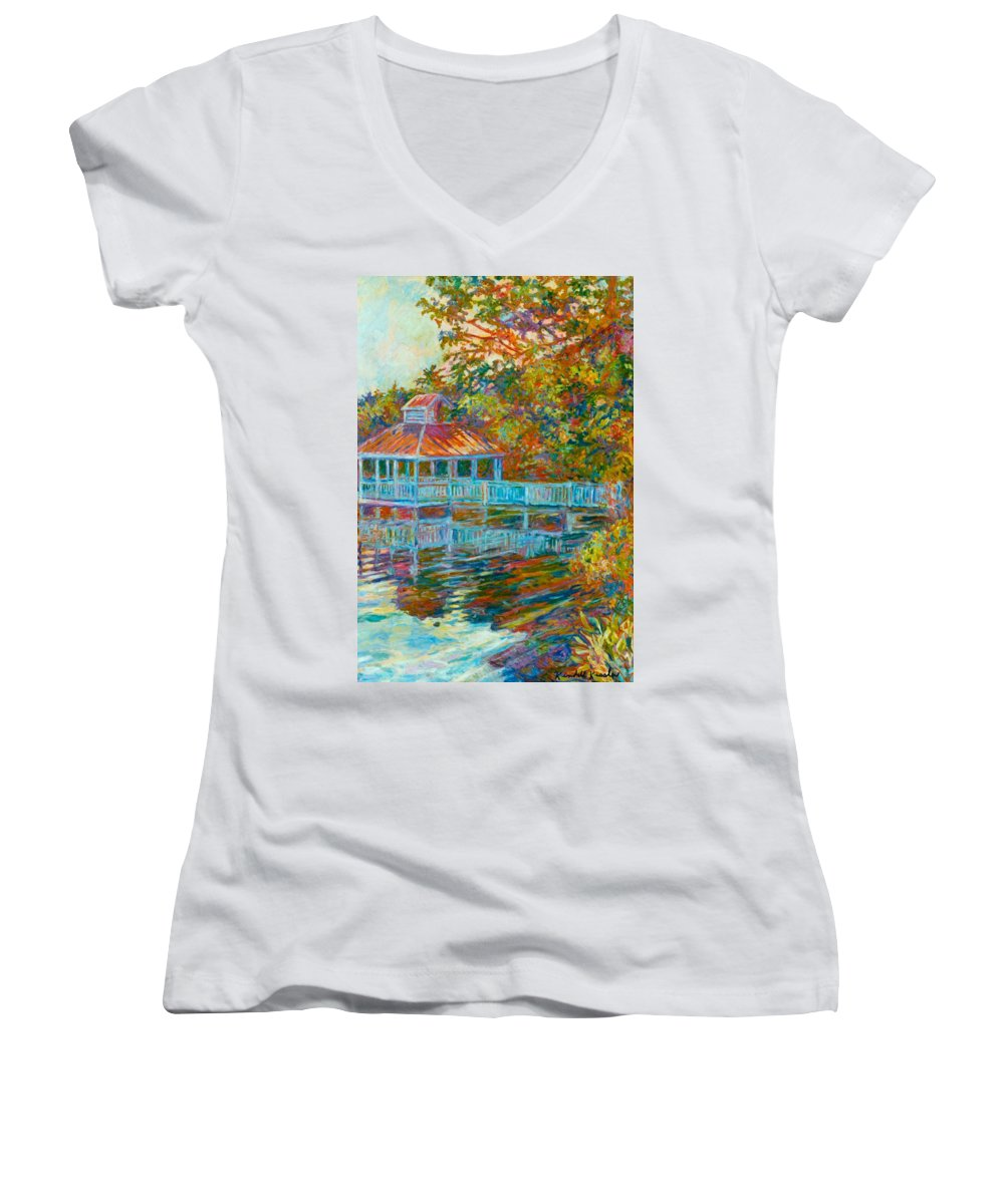 Mountain Lake Women's V-Neck T-Shirt featuring the painting Boathouse At Mountain Lake by Kendall Kessler