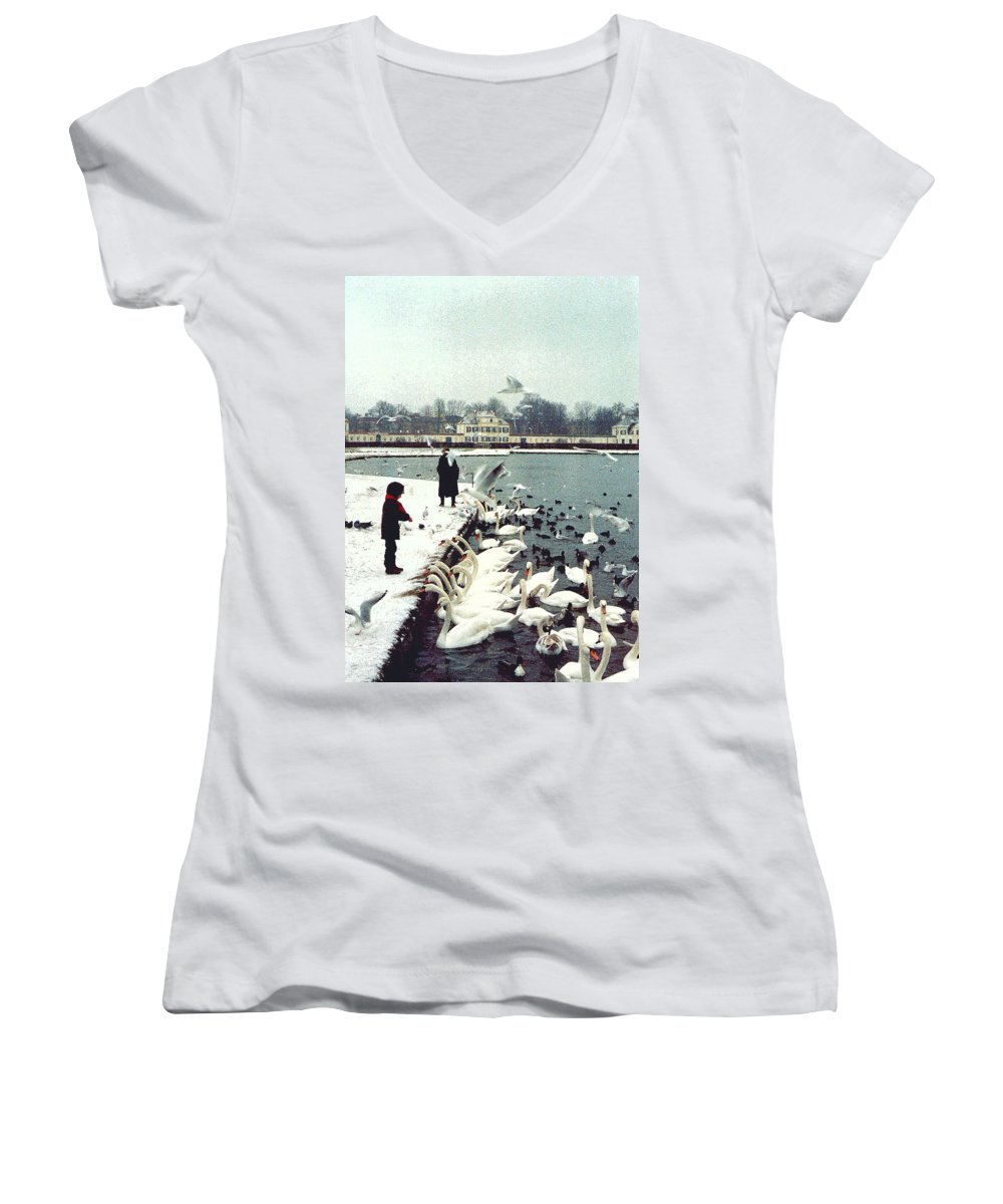 Swans Women's V-Neck (Athletic Fit) featuring the photograph Boy Feeding Swans- Germany by Nancy Mueller