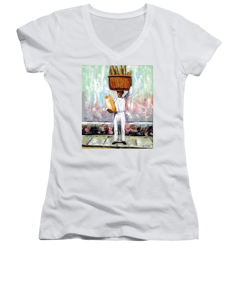 Bread Women's V-Neck (Athletic Fit) featuring the painting Breadman by Jose Manuel Abraham