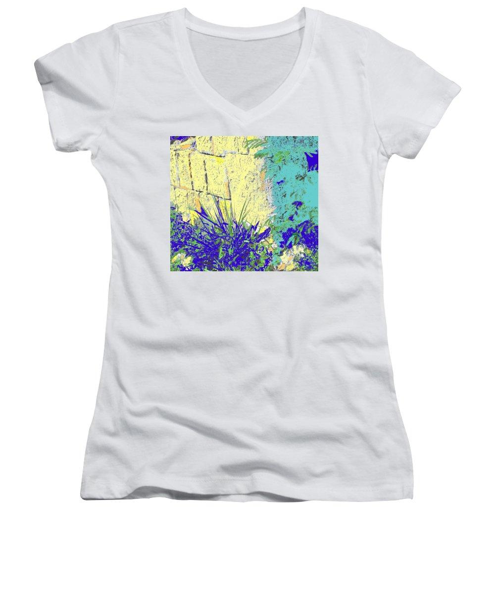 Brimstone Women's V-Neck T-Shirt featuring the photograph Brimstone Blue by Ian MacDonald