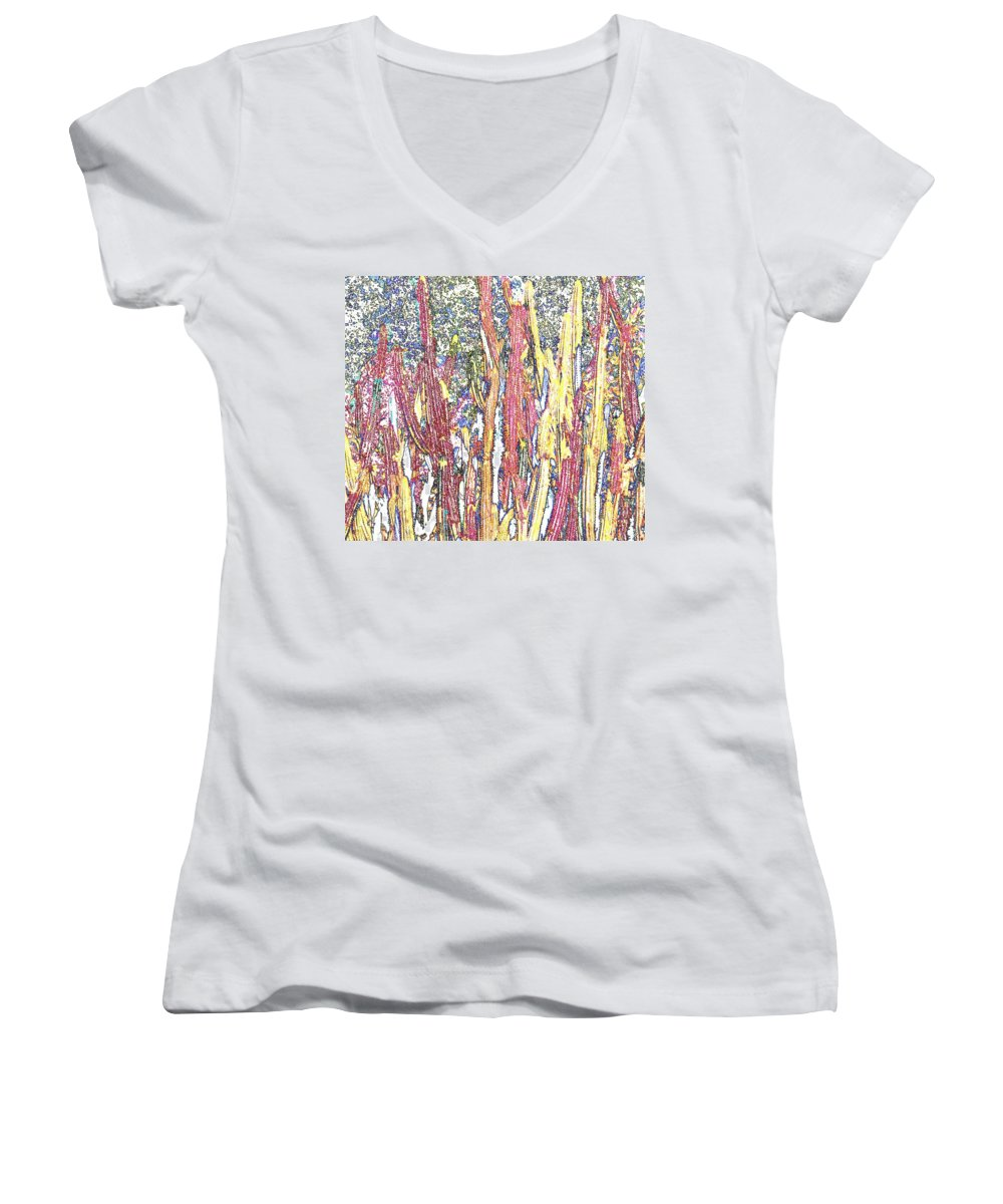 Forest Women's V-Neck T-Shirt featuring the photograph Brimstone Forest by Ian MacDonald