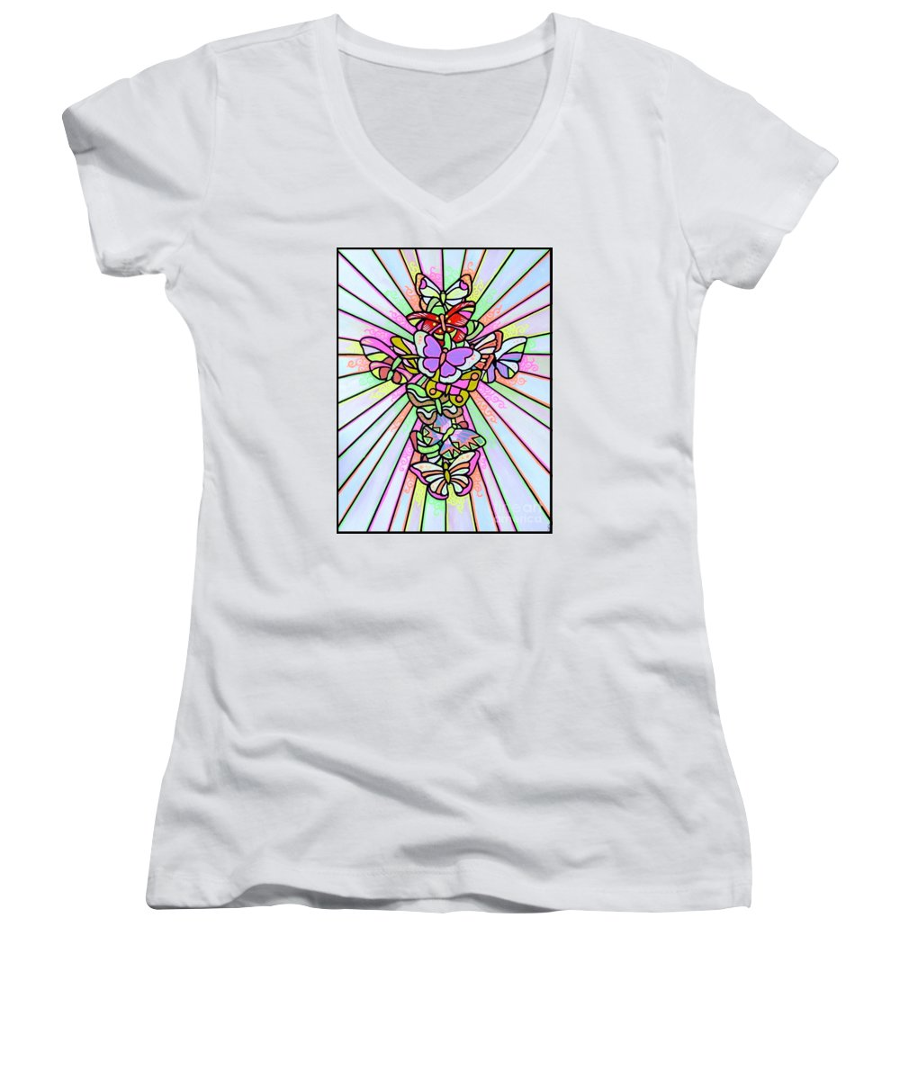 Cross. Easter Women's V-Neck (Athletic Fit) featuring the painting Butterfly Cross by Jim Harris