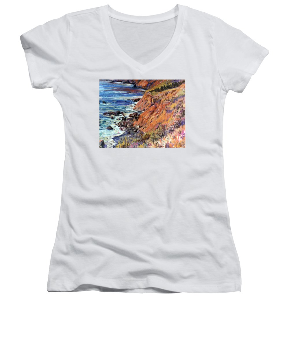 Big Sur Women's V-Neck T-Shirt featuring the drawing California Coast by Donald Maier