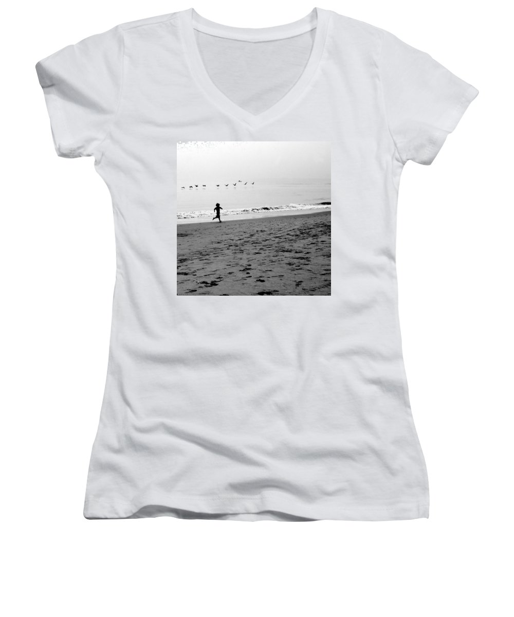 Photograph Women's V-Neck T-Shirt featuring the photograph Carefree by Jean Macaluso