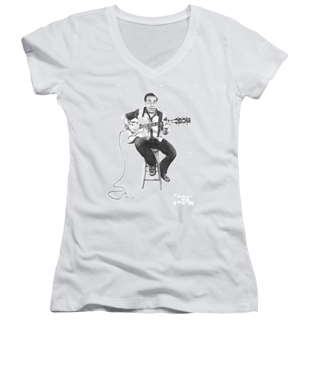 Drawing Women's V-Neck T-Shirt featuring the drawing Carmine D'amico by Murphy Elliott