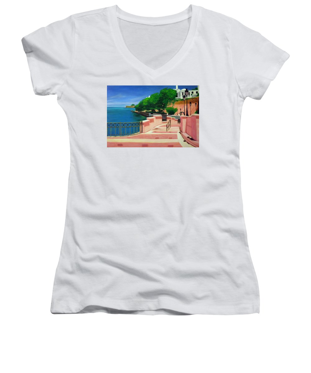 Landscape Women's V-Neck (Athletic Fit) featuring the painting Casa Blanca - Puerto Rico by Tito Santiago