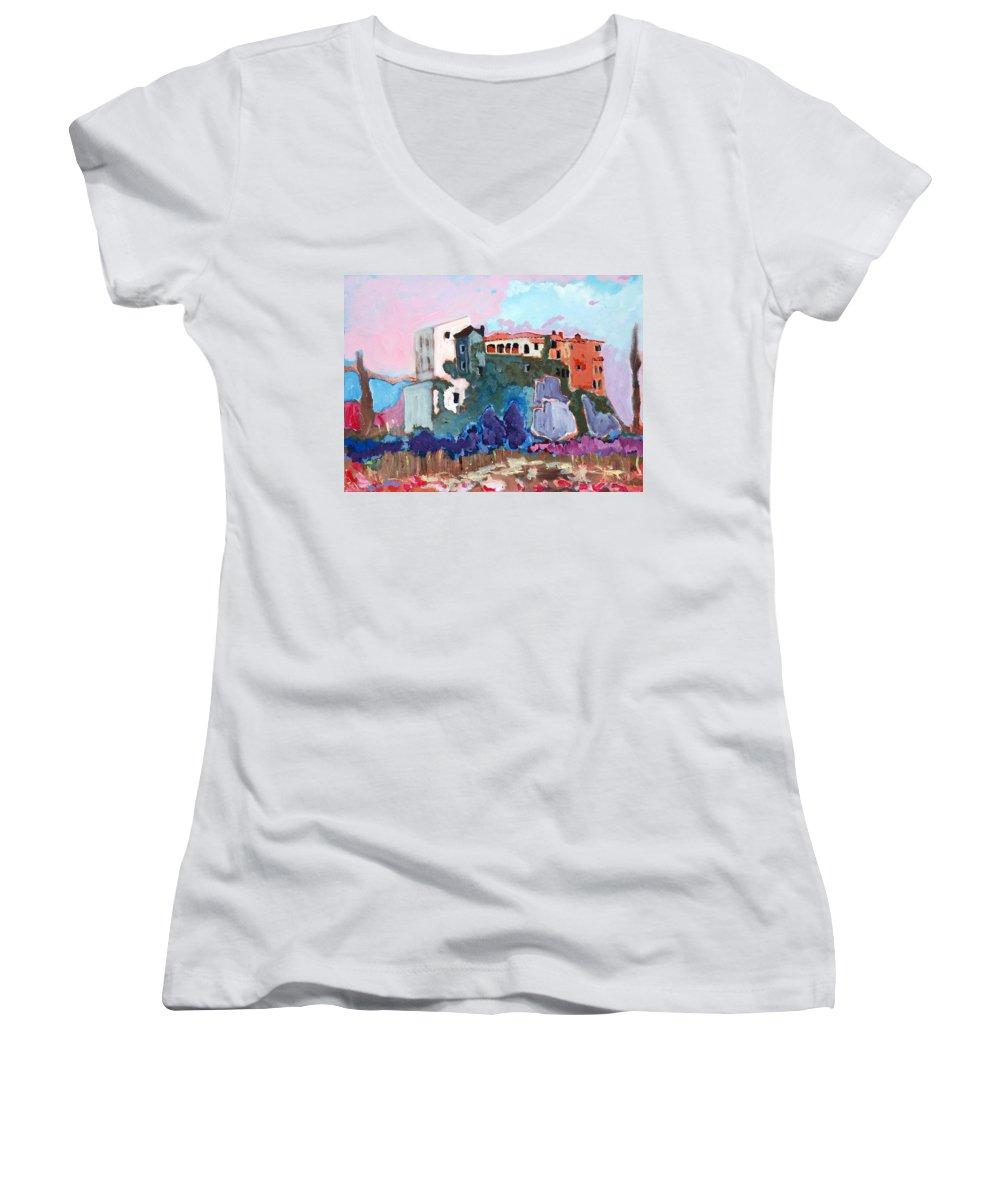 Castle Women's V-Neck T-Shirt featuring the painting Castello by Kurt Hausmann
